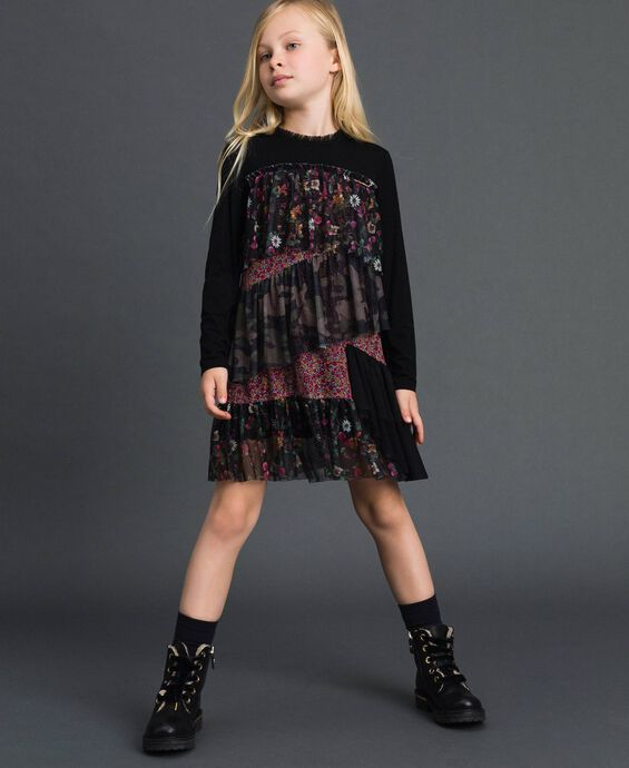 Flounce dress with mixed prints