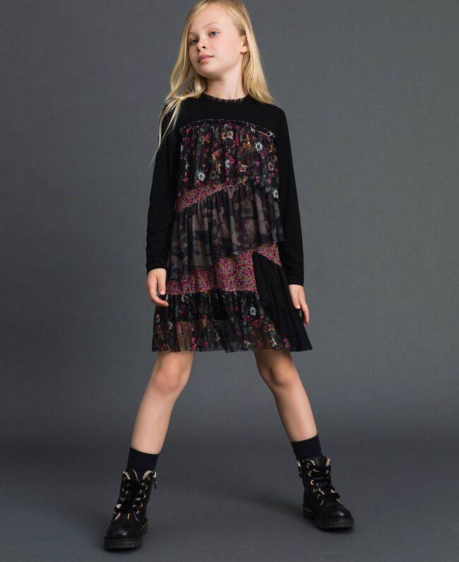 Flounce dress with mixed prints Mixed Pattern Print Child 192GJ2500-01