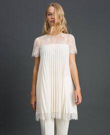 Blusa in crêpe de Chine plissé e pizzo Bianco Neve Donna 192TT2490-03