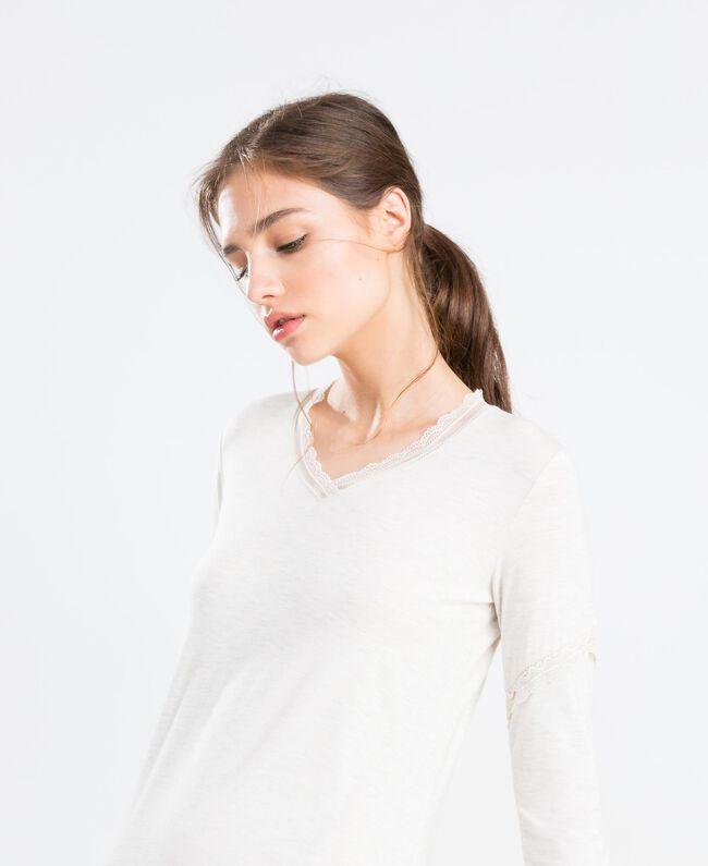 Nachthemd aus Jersey Elfenbeinmelange Frau LA8BEE-04