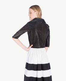 Leather biker jacket Black Woman YS82JG-03