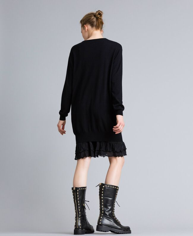 Wool and cashmere dress with slip Black Woman PA83AP-03