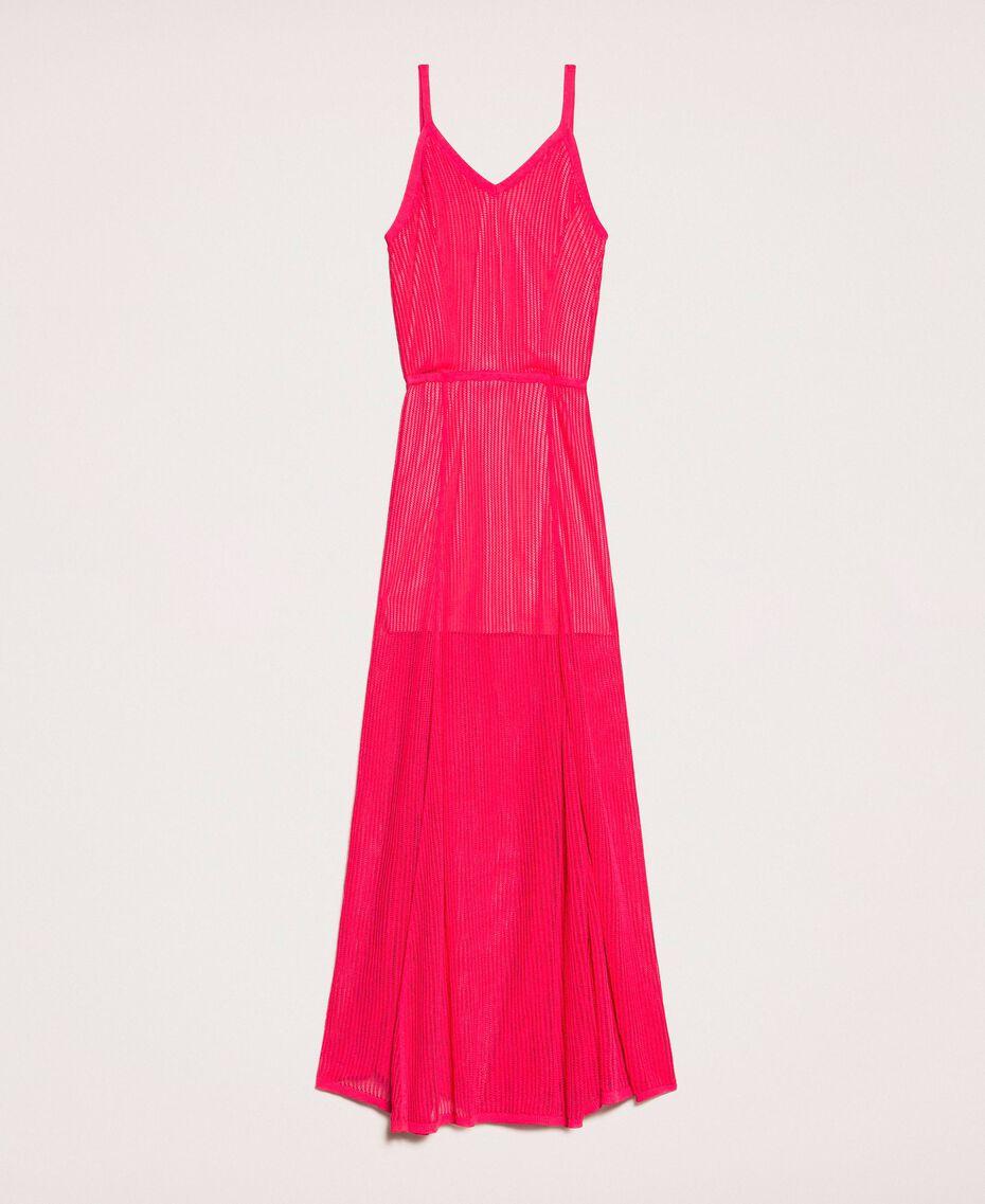 Robe longue en maille point filet Rose Sauvage Femme 201MT3010-0S