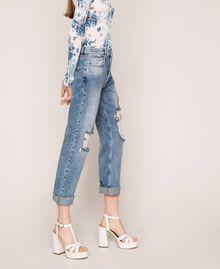 Jeans con rotture e ricami Denim Blue Donna 201MT2266-03