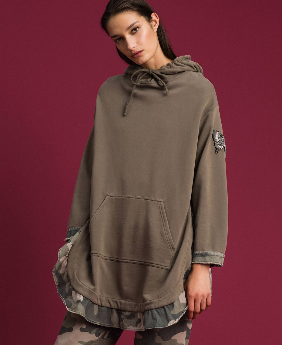 Maxi sweatshirt with camouflage details Military Gold / Camouflage Print Woman 192TP2040-02
