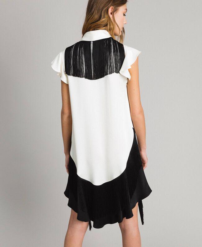 """Fringed belt dress Bicolour """"Snow"""" White / Black Woman 191TT2381-03"""