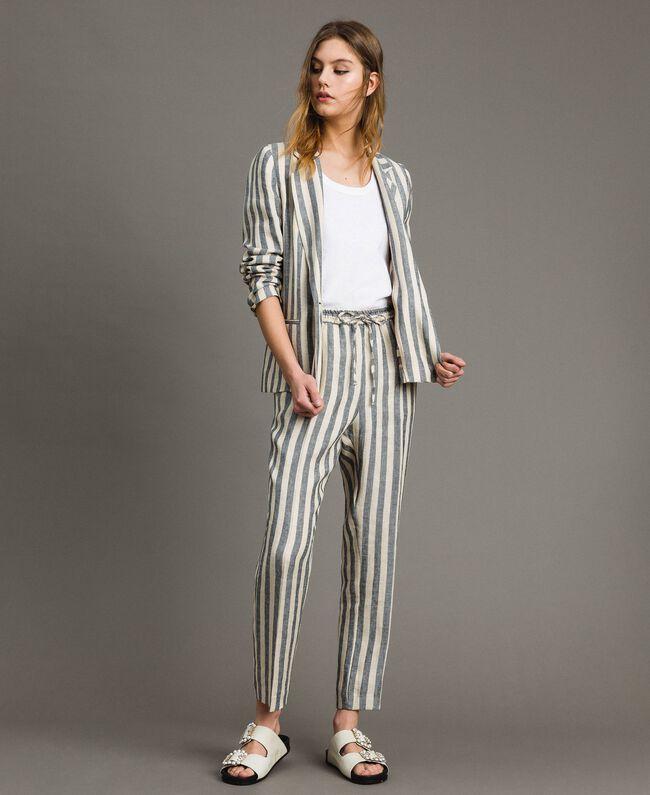 "Two-tone striped linen trousers Two-tone Black / ""Marzipan"" Beige Woman 191TT2314-01"