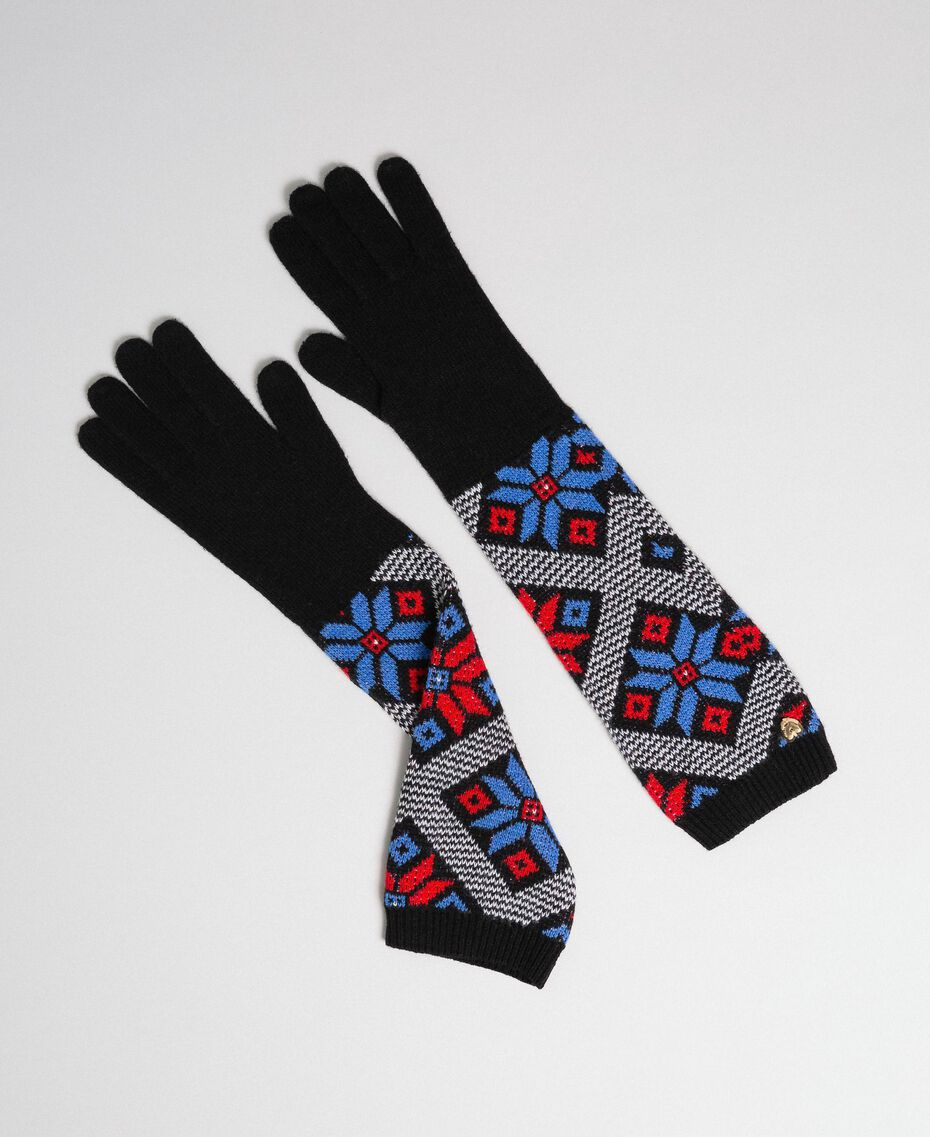 "Jacquard knit elbow-length gloves ""Curacao"" Blue Snowflakes Jacquard Woman 192MO530H-01"