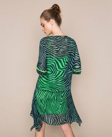 "Georgette animal print dress ""Atlantic Deep"" Green Zebra Print Woman 201LB2GGG-03"