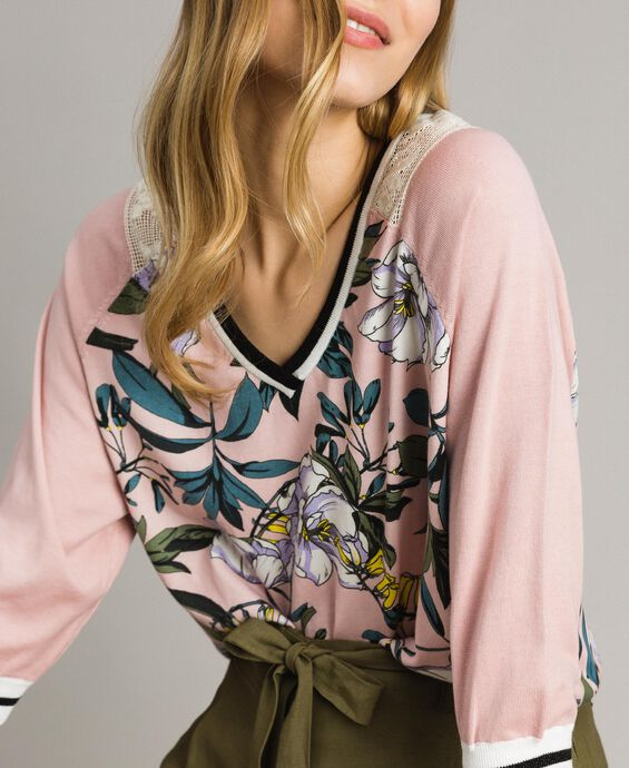 Floral print and lurex jumper