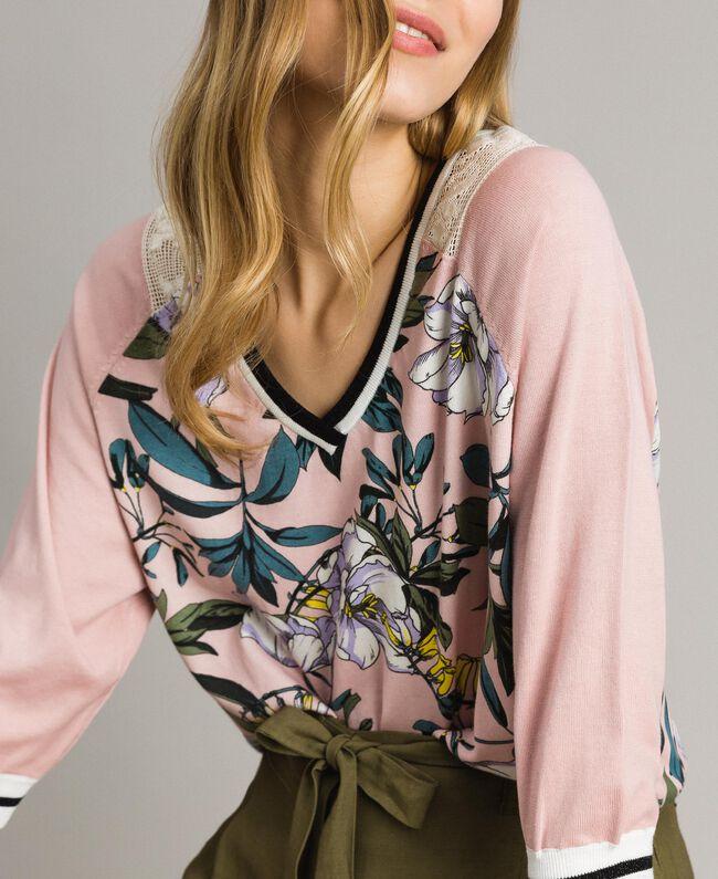 """Lurex-Pullover mit Blumenmuster Motiv Exotisch """"Soft Pink"""" Frau 191ST3122-01"""