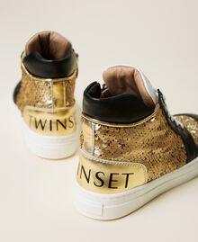 Sneakers de piel con lentejuelas Multicolor Oro Niño 212GCJ044-02