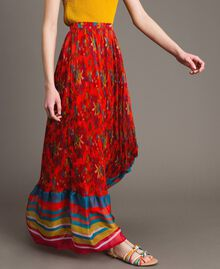 Floral print chiffon long skirt Multicolour Chiné / Grenadine Striping Woman 191TT2362-01