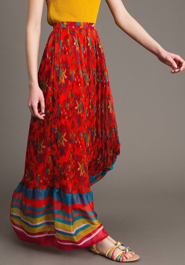 Floral print chiffon long skirt