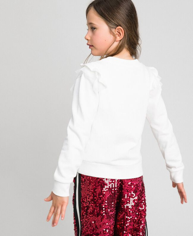 Sweatshirt with tulle frill and print White Child 192GJ2430-03