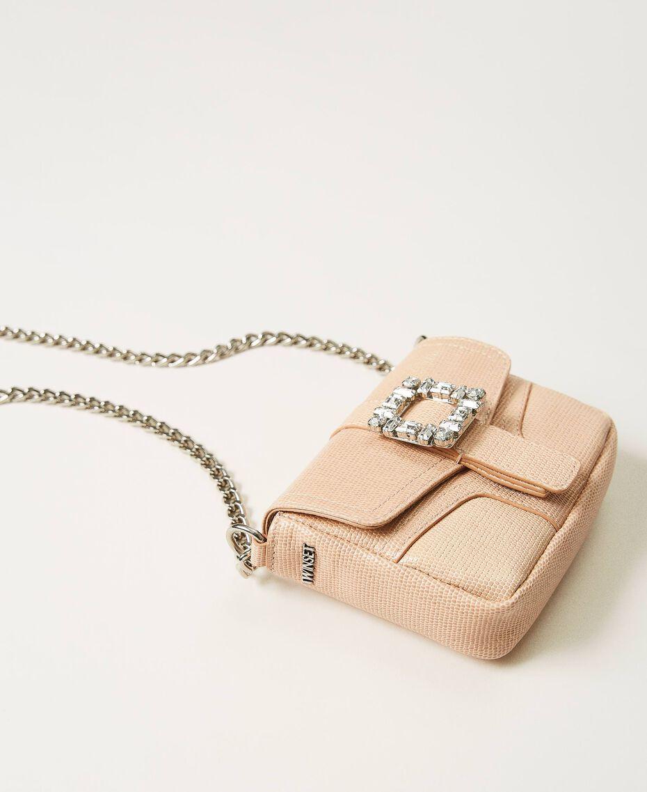 "Small Rebel shoulder bag with jewel buckle ""Nude"" Beige Woman 202TB7140-01"