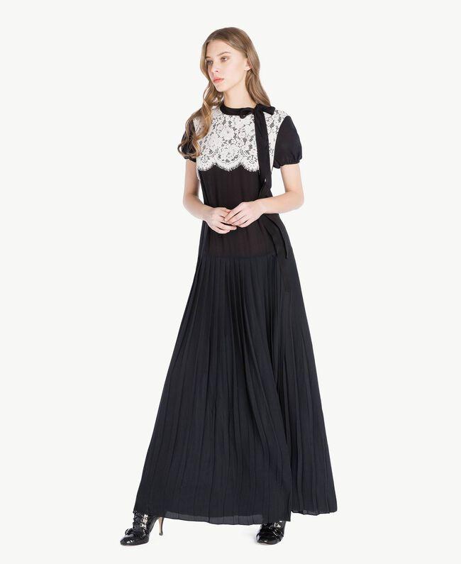 Langes Kleid aus Seide Zweifarbig Schwarz / Ecru Frau PS82Y3-01
