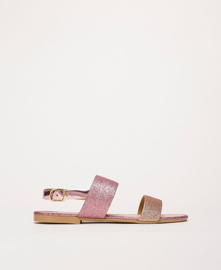 Flache Sandale mit Glitzer Puder Glitzer Frau 201MCT014-02