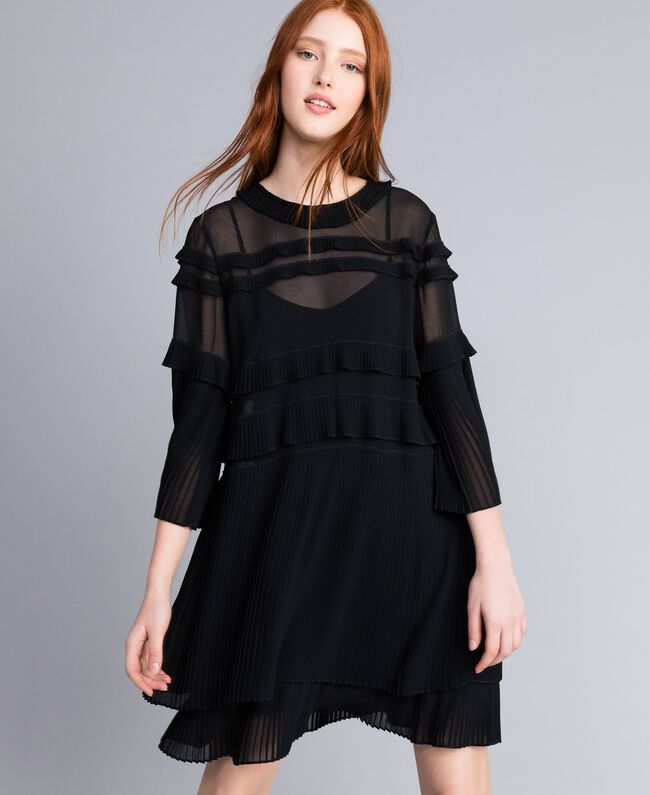 b5006d632c Vestido georgette plisado Negro Mujer QA8TFP-01