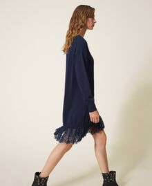 Knitted dress with lace hem Blackout Blue Woman 202LI3RFF-03