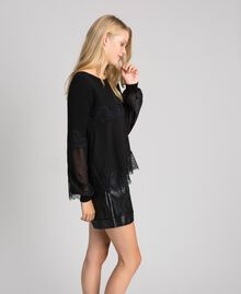Jumper with georgette and lace Black Woman 192TT3082-02