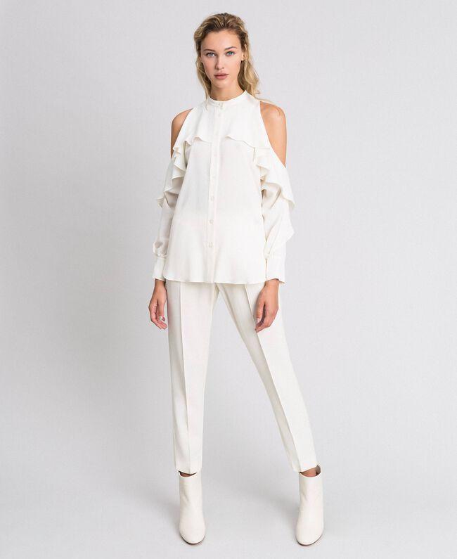 Camicia in crêpe de Chine con volant Bianco Neve Donna 192TT2432-01