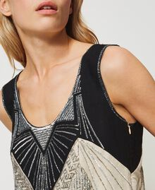 "Linen blend dress with embroideries Two-tone ""Dune"" Beige / Embroidered Black Woman 211TT2611-06"