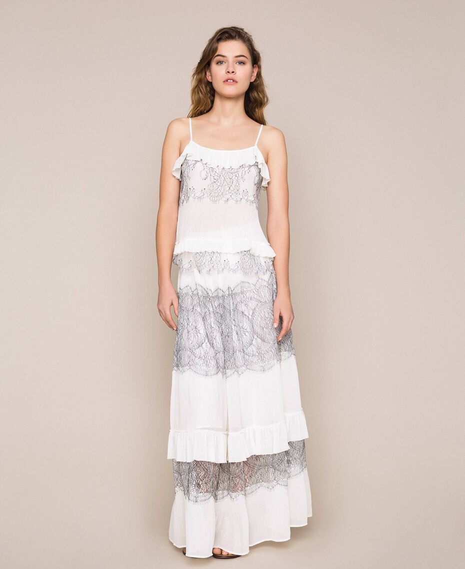 Long pleated skirt with two-tone lace White Snow Woman 201TT2144-01