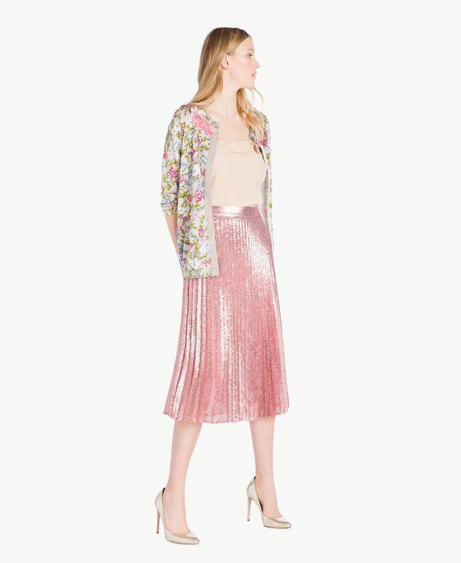 Embroidered mandarin collar top Floral Print Woman PS83LF-05