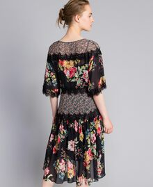 Floral print georgette short dress Flower Patch Print Woman PA82MD-03