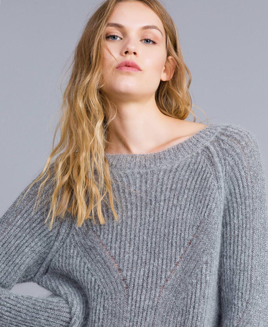 Maxi lurex and mohair jumper Grey Silver Lurex Melange Woman TA832E-01