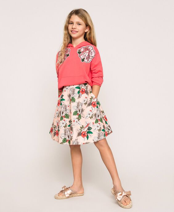 Printed poplin full skirt