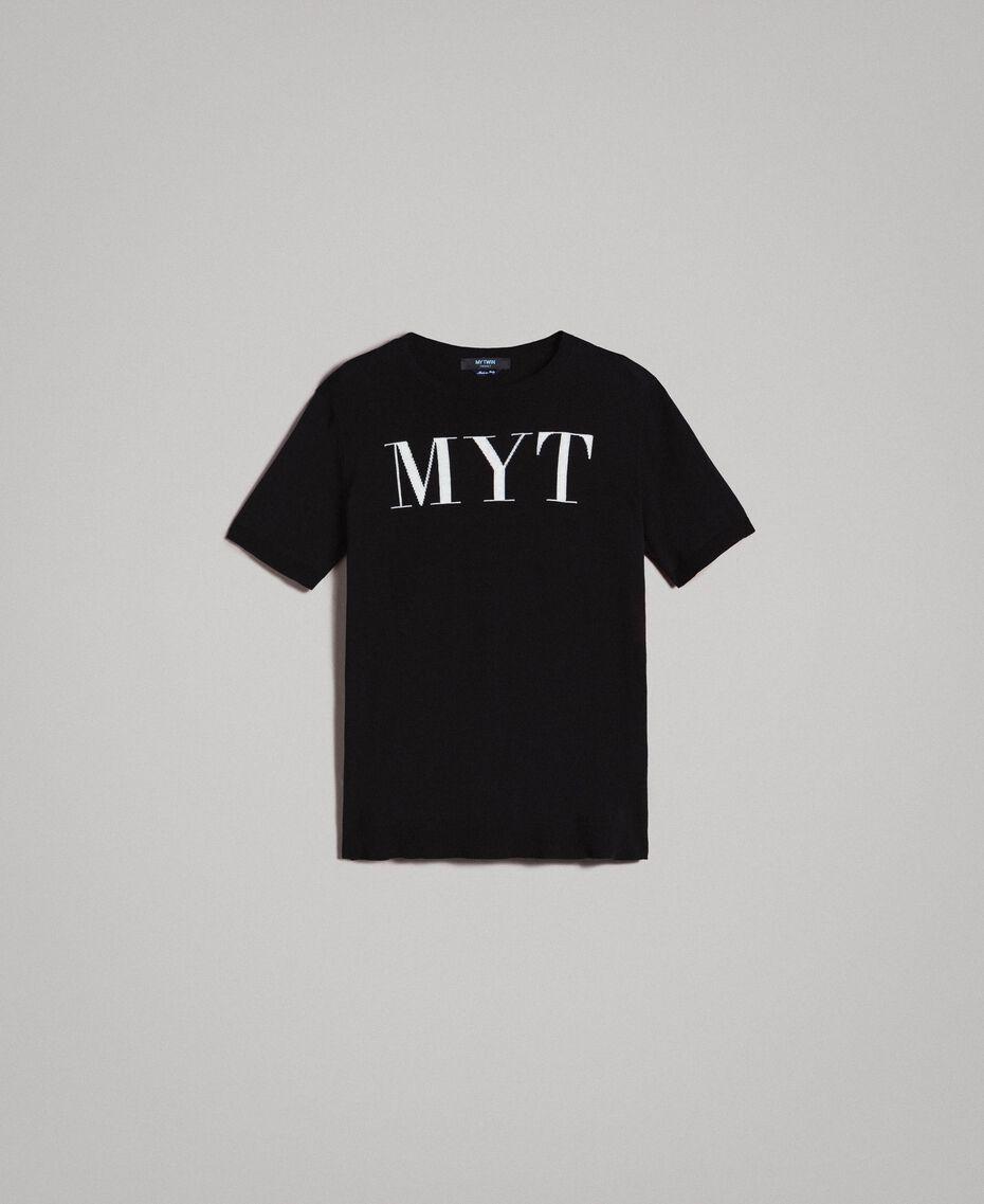 Krepp-Baumwoll-T-Shirt mit Logo Zweifarbig Schwarz / Deckweiß Mann 191UT3041-0S