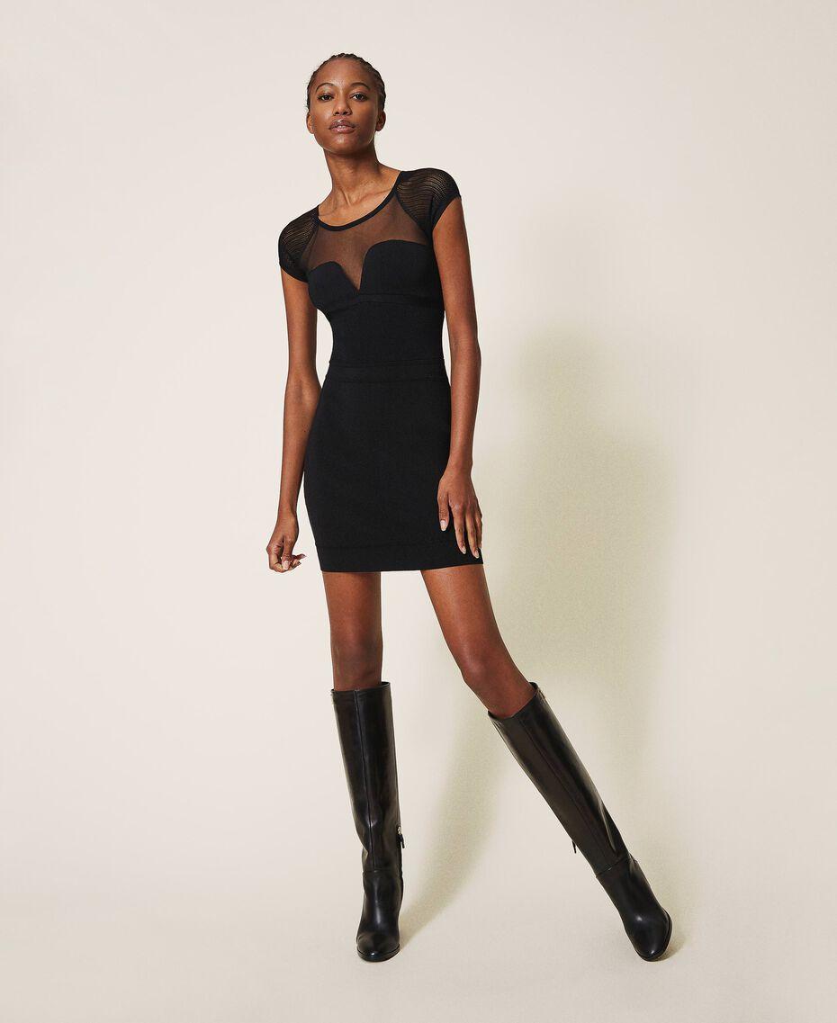 Robe fourreau en maille et tulle Noir Femme 202MT3010-01
