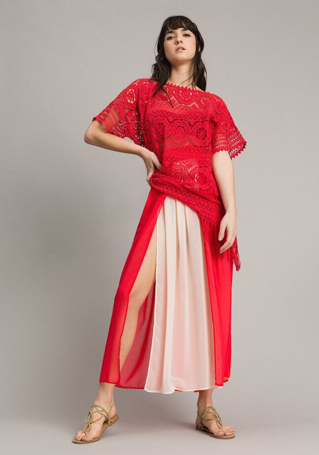 Long skirt with multicolour panels