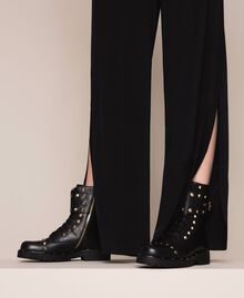Leather combat boots with studs Black Woman 999TCP020-0S