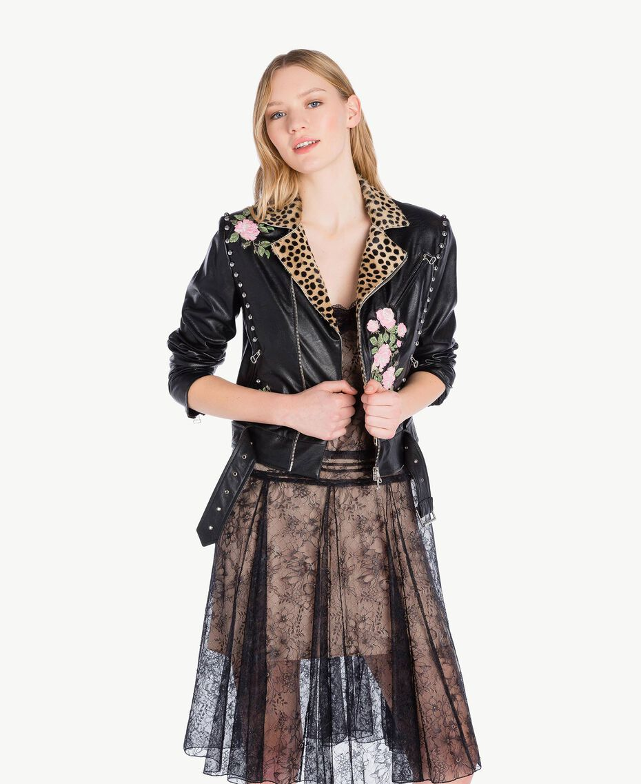 Embroidered biker jacket Black Woman PS82DN-01