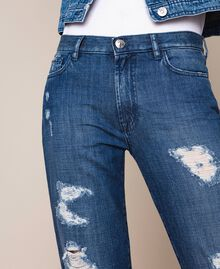Jeans girlfriend con rotture Denim Blue Donna 201MP227E-04