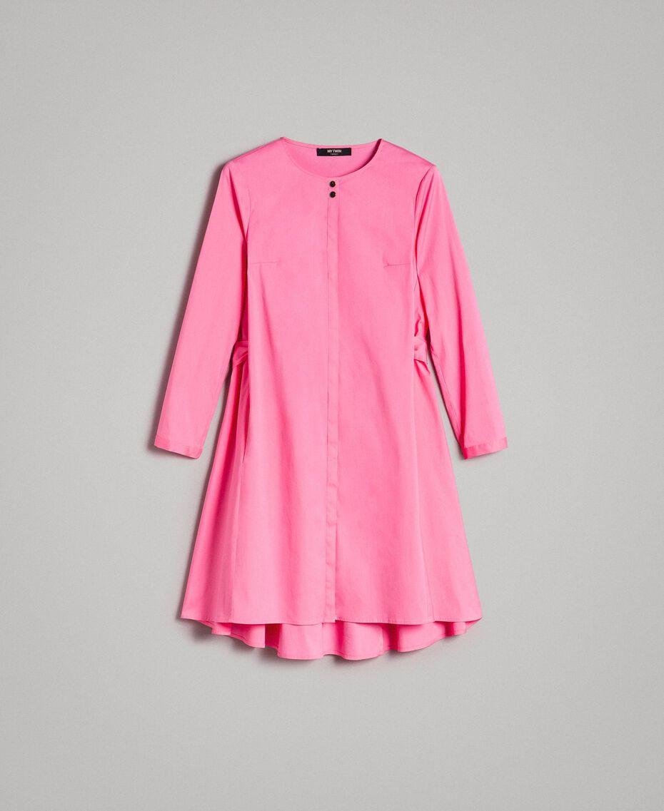 Hemdblusenkleid aus Popeline Rosa Kamelie Frau 191MP2215-0S