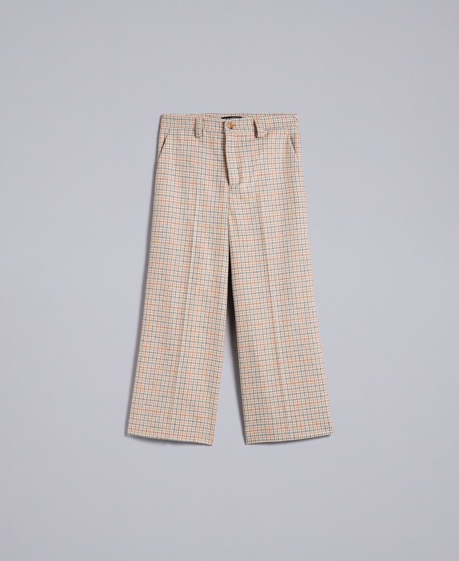Pantaloni cropped in flanella check Multicolor Quadri Donna TA8212-0S