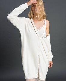 Maxi cardigan en cachemire mélangé avec fond de robe Blanc Neige Femme 192TT3092-01