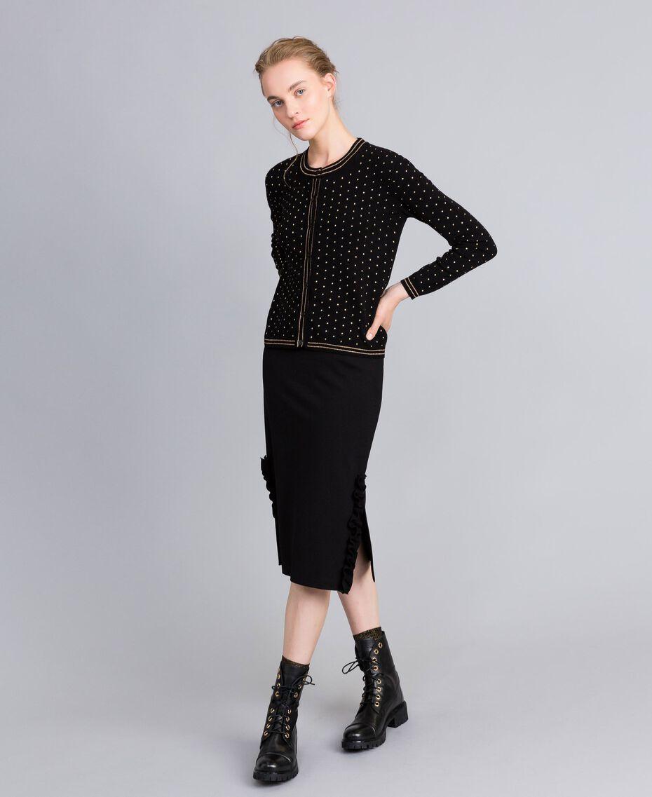 Viscose mandarin collar top with lurex stripes Black Woman PA8351-01