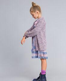 Maxi cardigan in mouliné yarn Multicolour Jacquard Child GA83EN-03