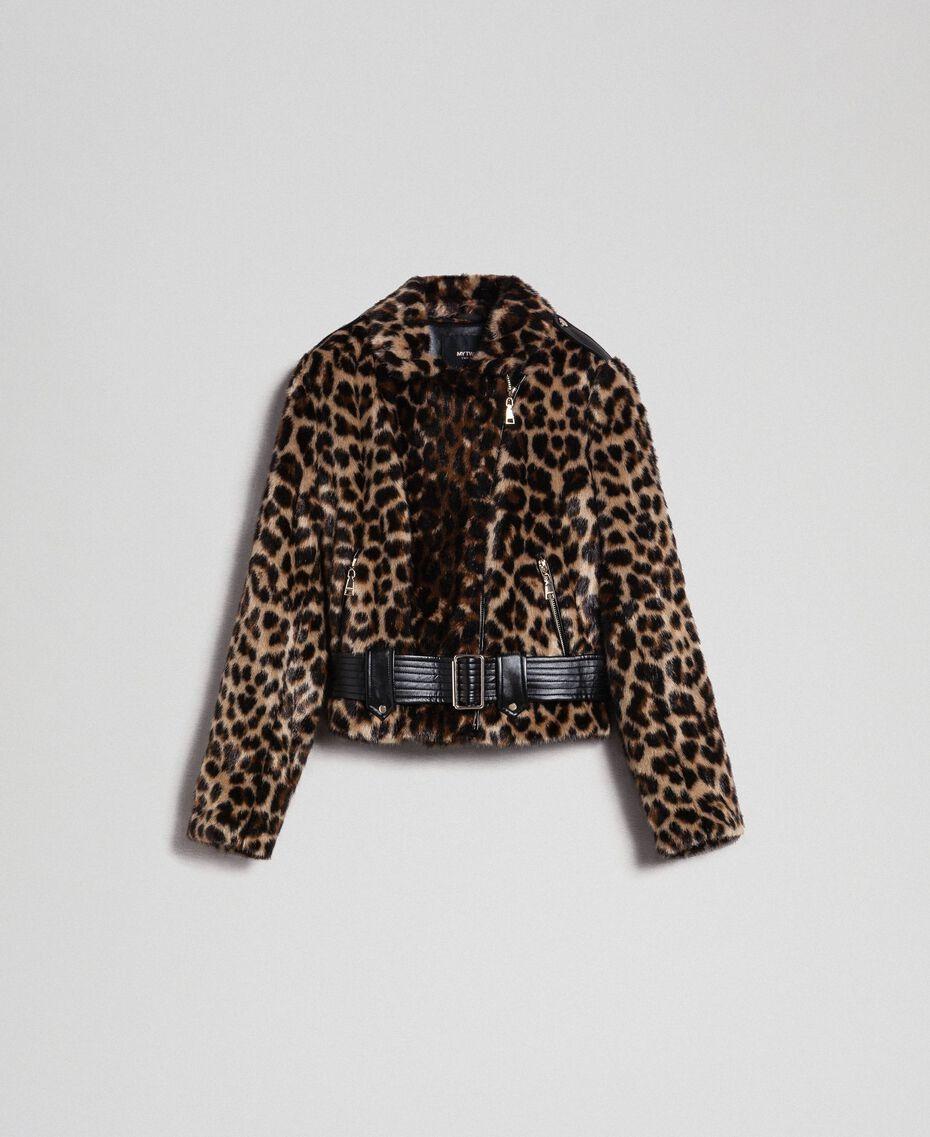 Faux fur animal print biker jacket Animal print Woman 192MP2040-0S