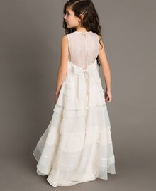 Georgette and organza long dress Pale Cream Child 191GJ2QD0-0S