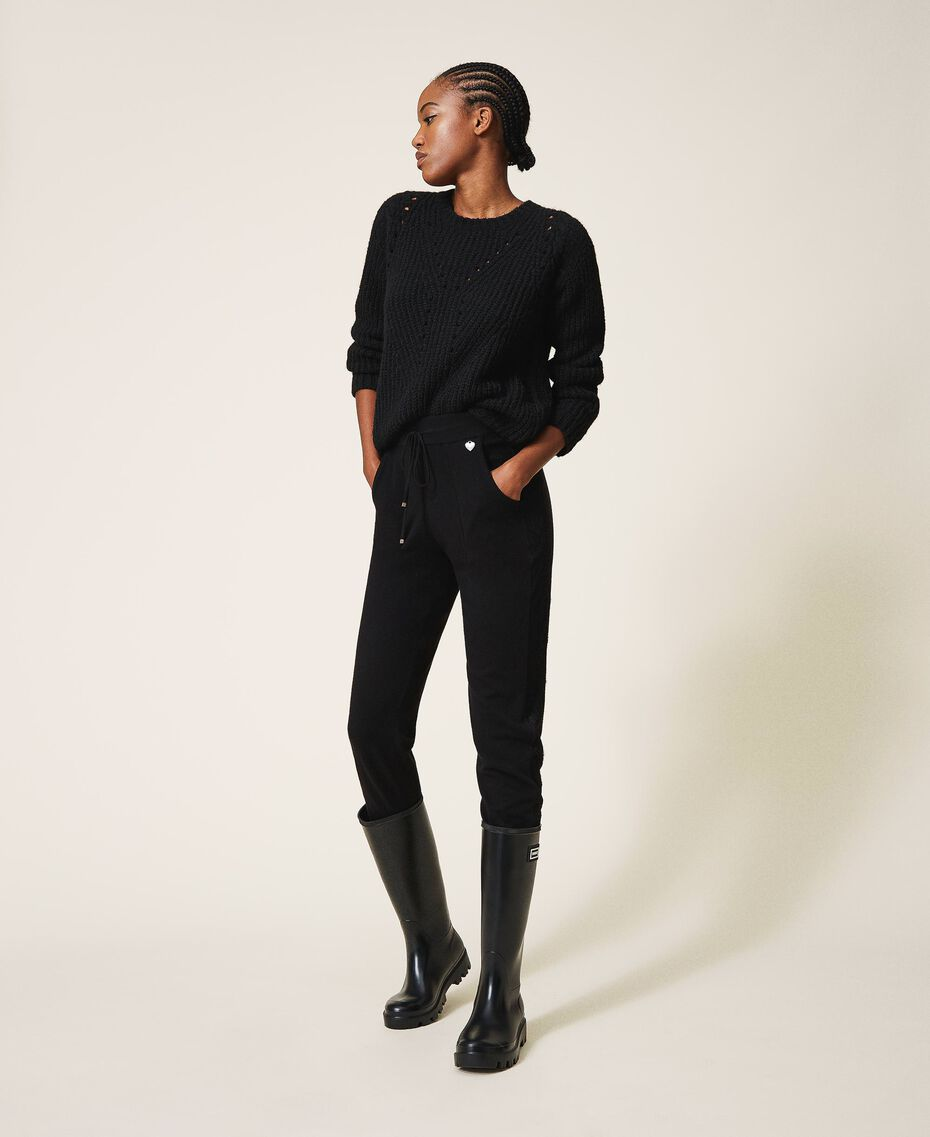 Pantalon de jogging en maille avec dentelle Noir Femme 202TP3384-01