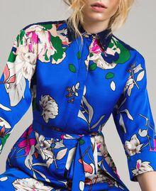 Satin-Hemd-Kleid mit Blumenmuster Motiv Windblumen Kornblumenblau Frau 191TP2454-05
