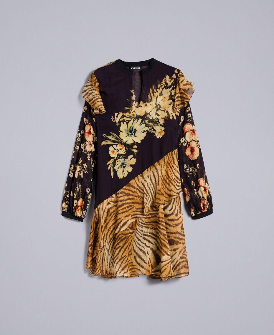 "Kurzes Kleid mit Printmix Print-Mix ""Flowers&Tiger"" Frau TA825C-0S"