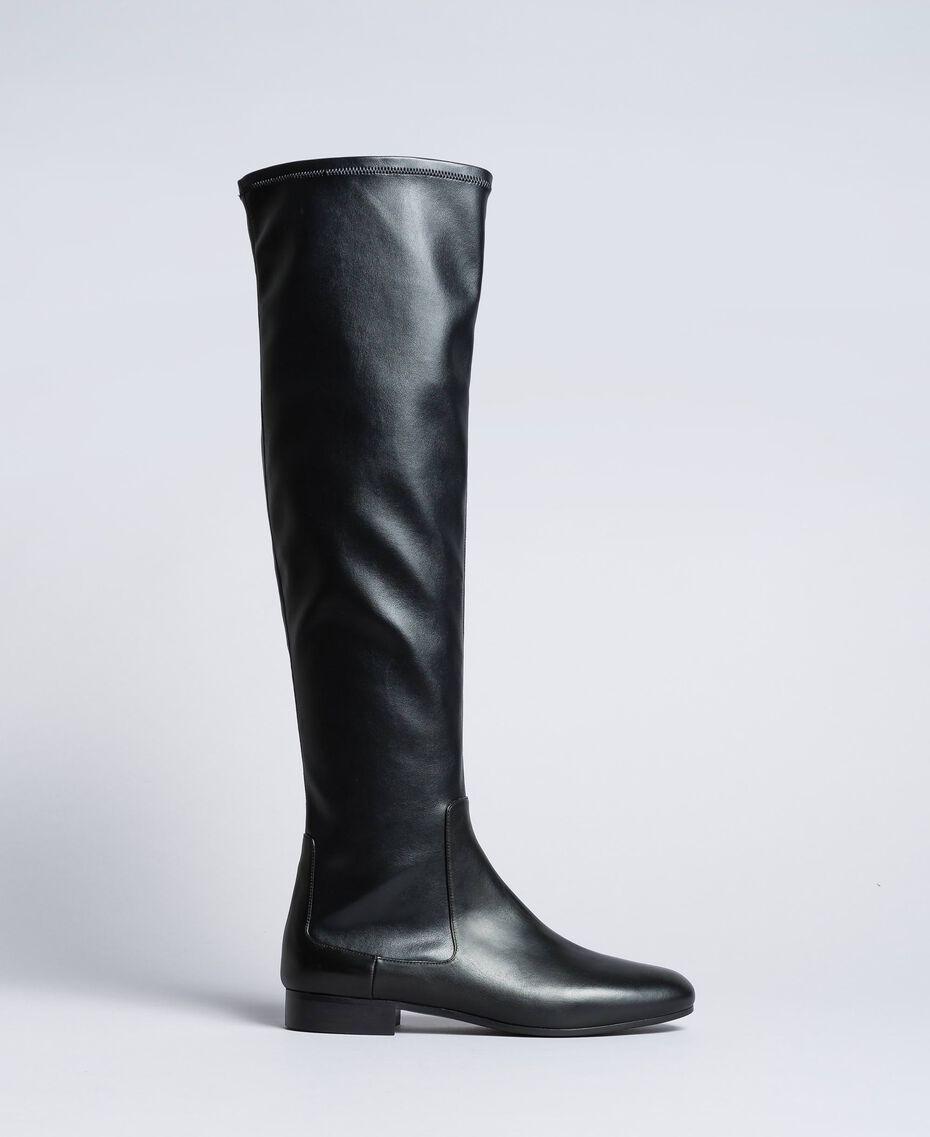 Stivali cuissardes in tessuto stretch Nero Donna CA8PMS-02