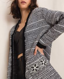 Long tweed jacket with embroidery Black Woman 201LB23BB-04